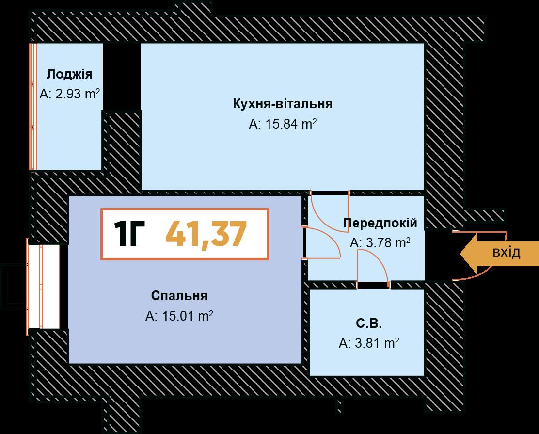 1-км кв. 1Г  41.37 м²