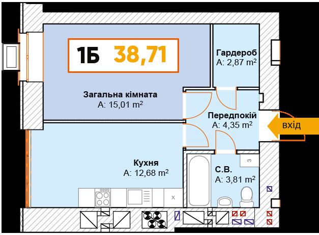 1-км кв. 1Б 38.71 м²