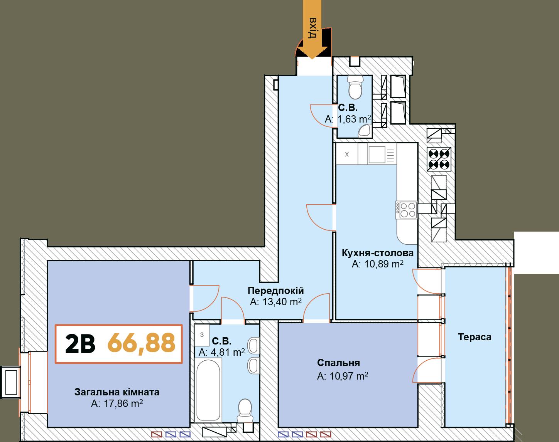 2-км кв. 2В 66.88 м²