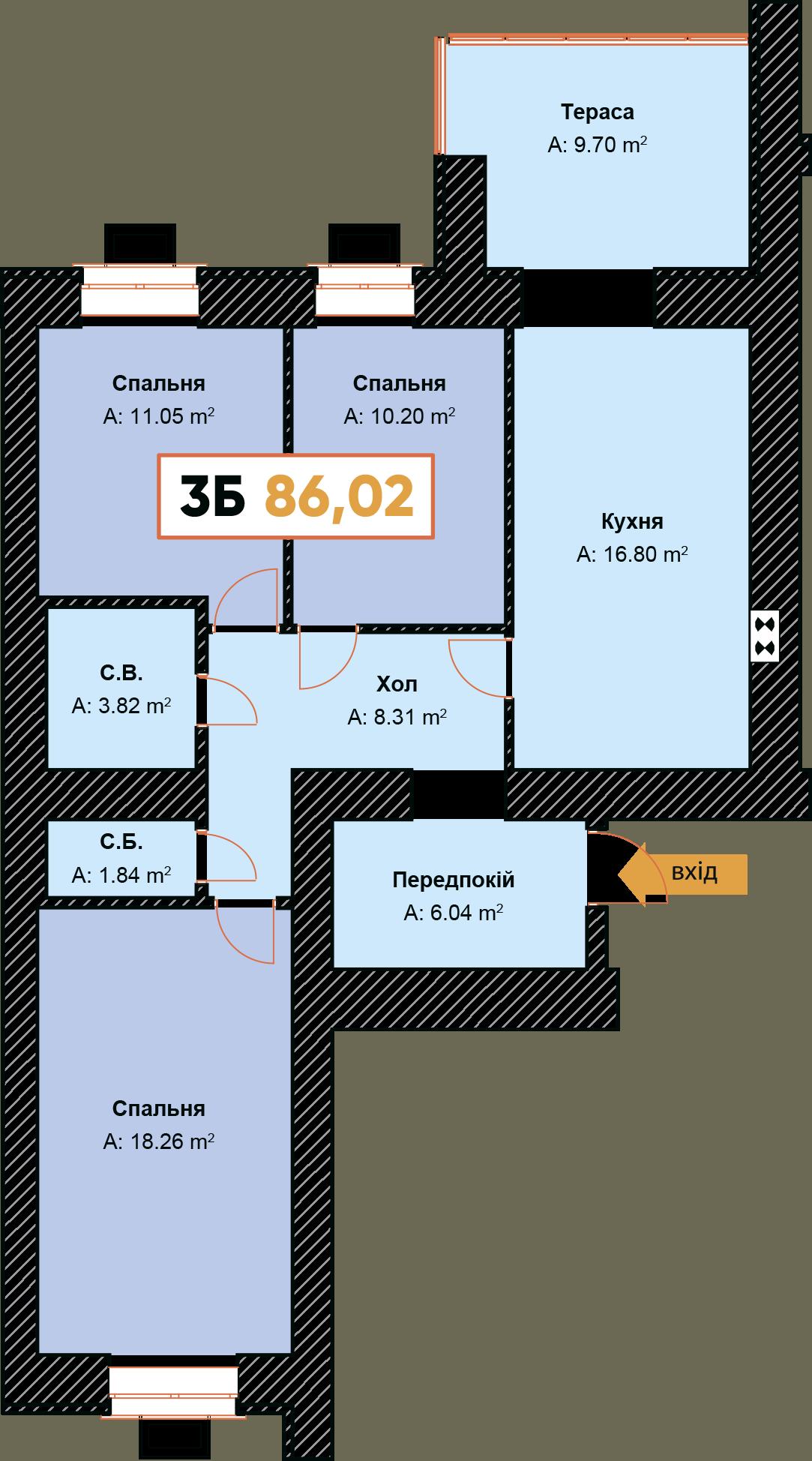 3-км кв. 3Б 86.02 м²