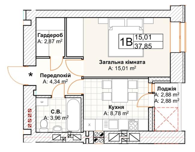 1-км кв. 1В 37.85 м²