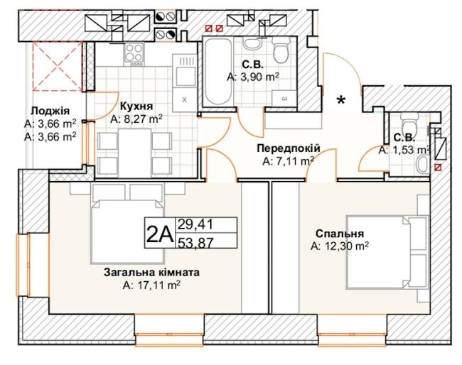 2-км кв. 2А  53.87 м²