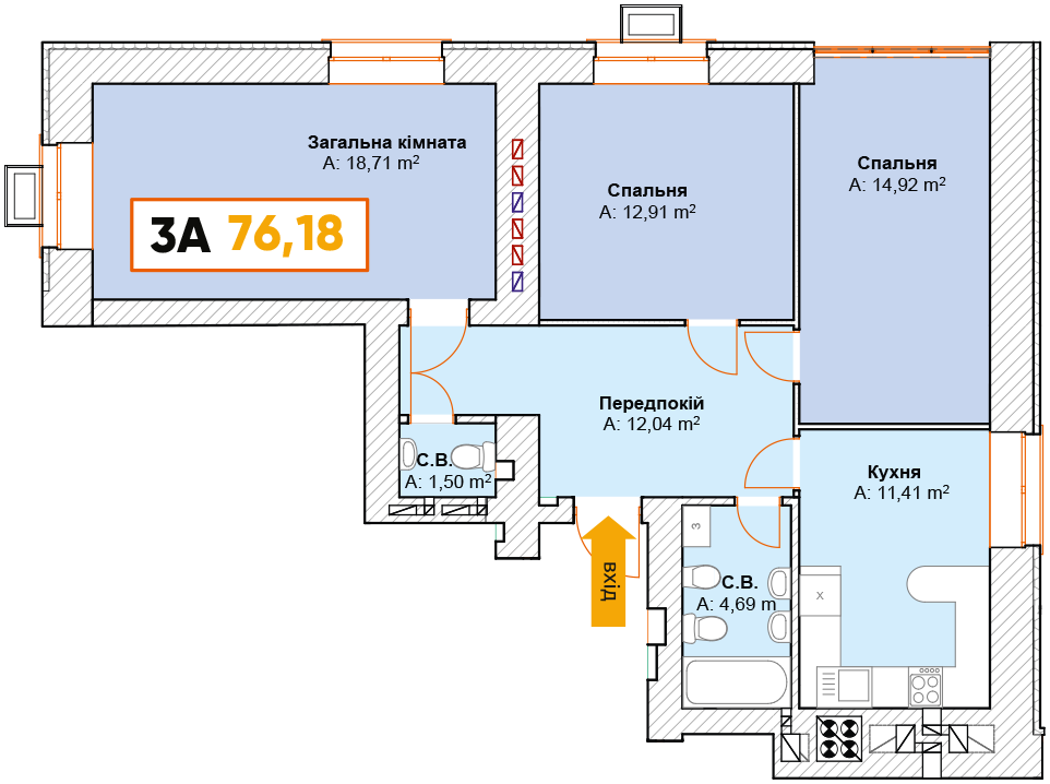 3-км кв. 3А 76.18 м²