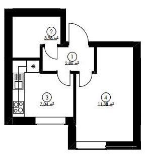 1-кімн.студія кв 24.45 м²