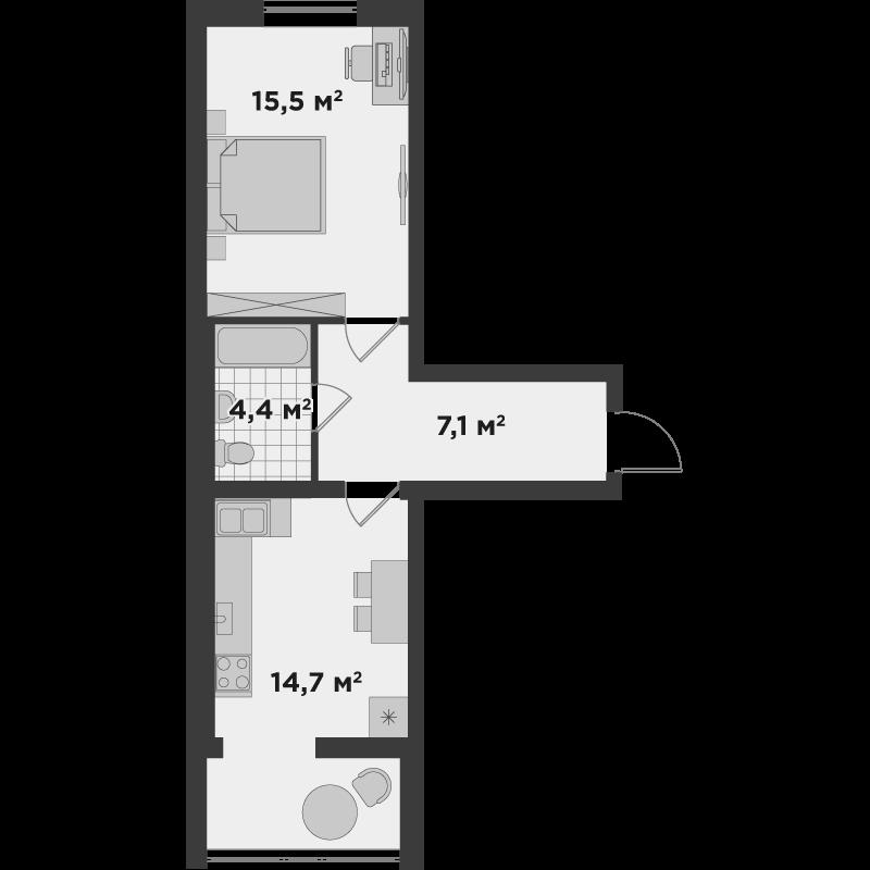 1а 41,8 м²