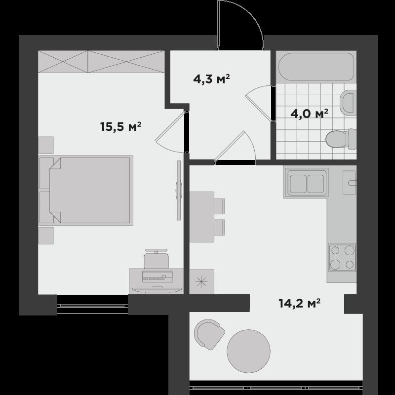 1б 38 м²
