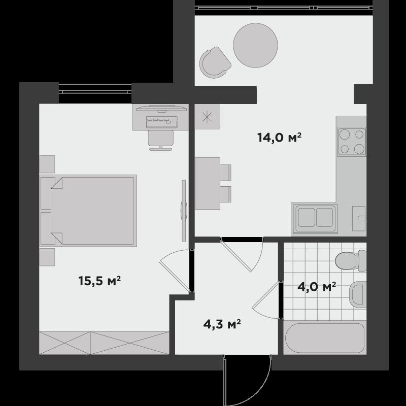 1б 37,8 м²