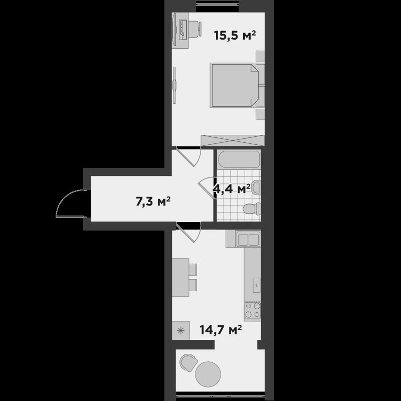 1е 42 м²