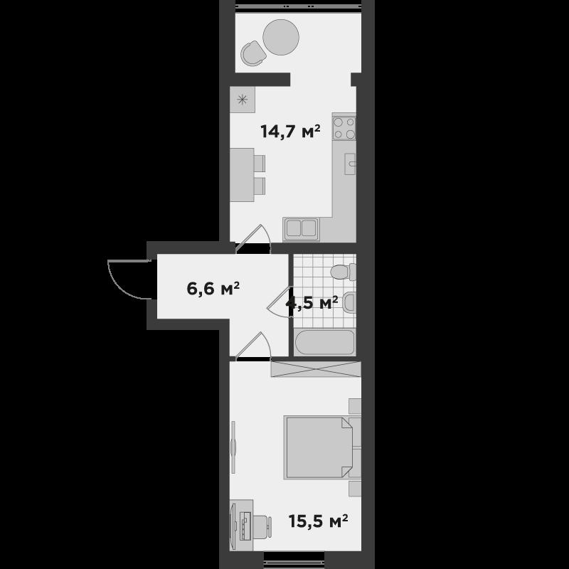 1е 41,3 м²