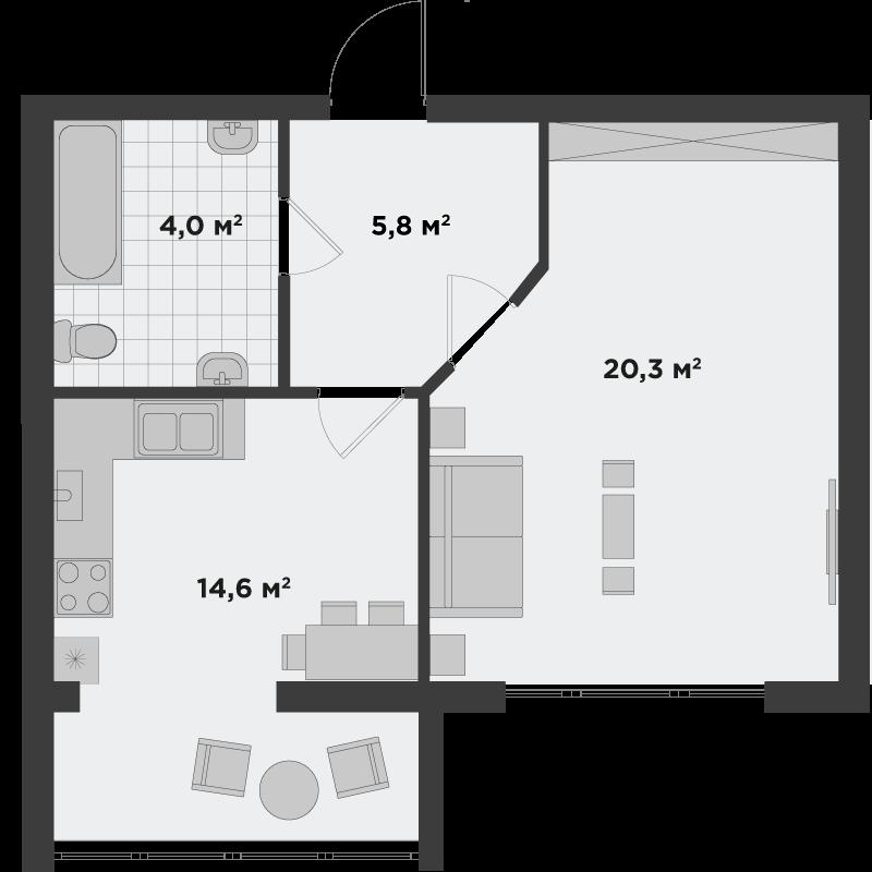 1в 44,7 м²