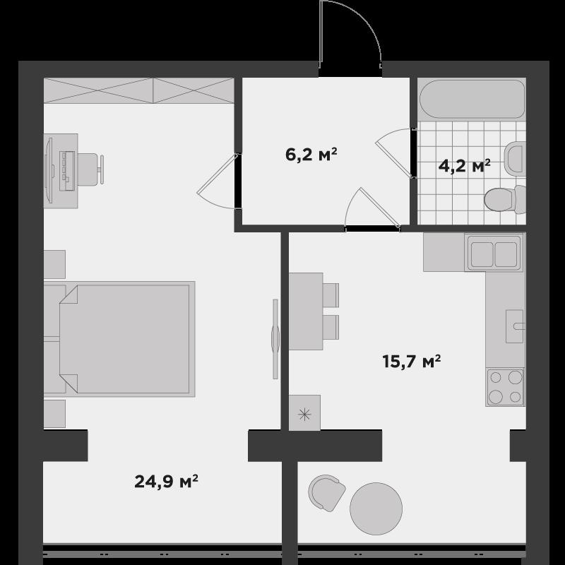 1в 51,7 м²