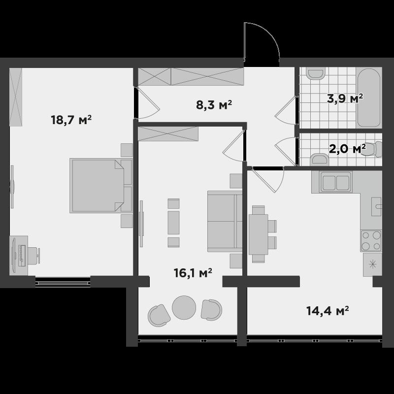 2б 63,40 м²