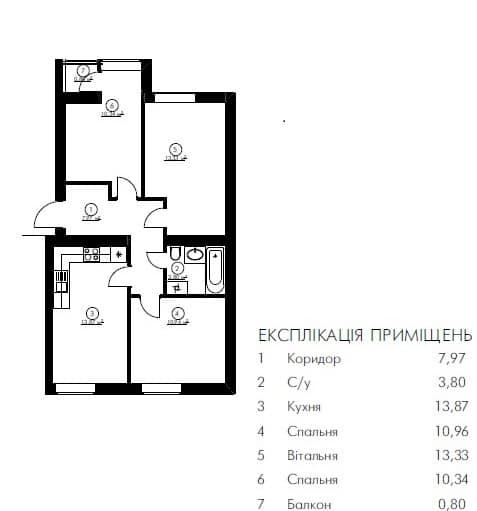 3-кімн. кв 61.07 м²