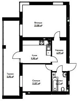 2-кімн.студія кв 61,64 м²