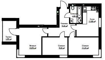 3-кімн.студія кв 61,11 м²