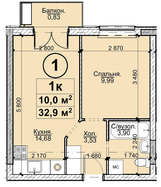 1к 32,9 м²