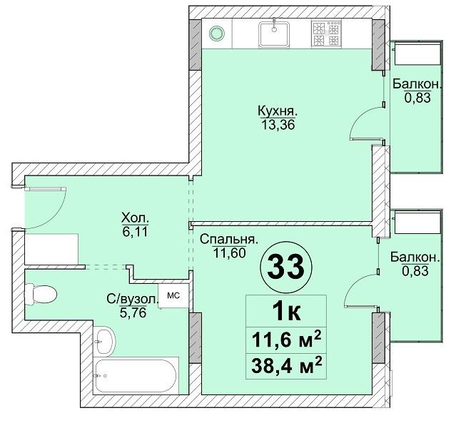 1к 38,4 м²