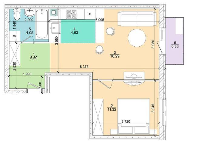 2к 44,5 м²