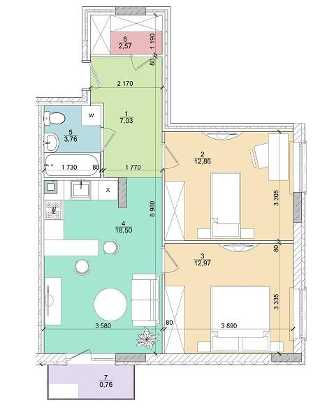 2к 58,6 м²