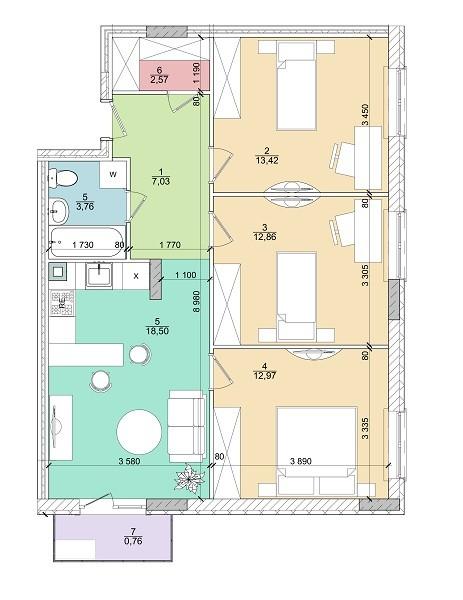 3к 72 м²