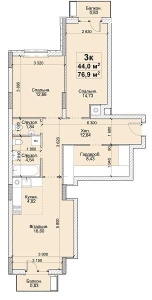 3к 76,9 м²