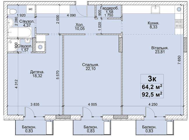 3к 92,5 м²