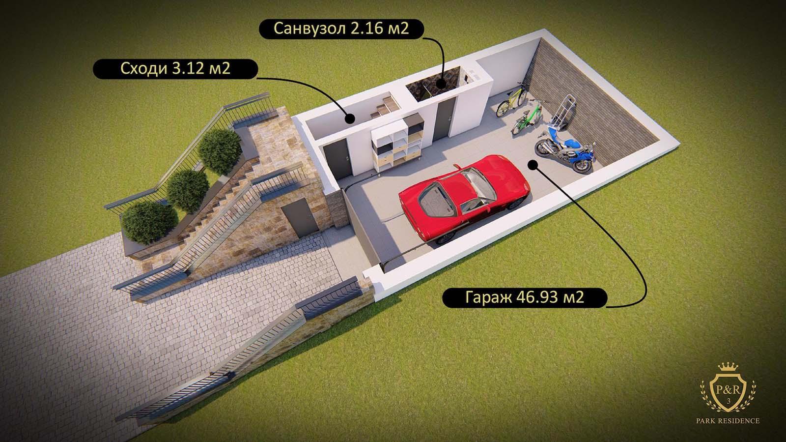 План гаража, таунхаус 107 - 160 м кв