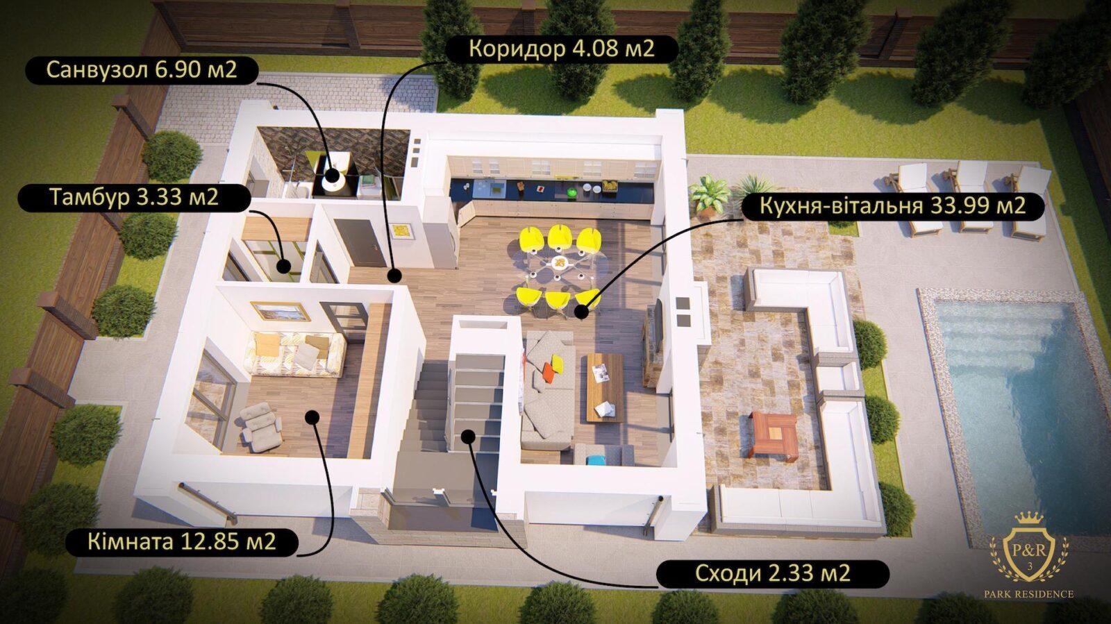 План 1 поверху, будинок 135 м кв