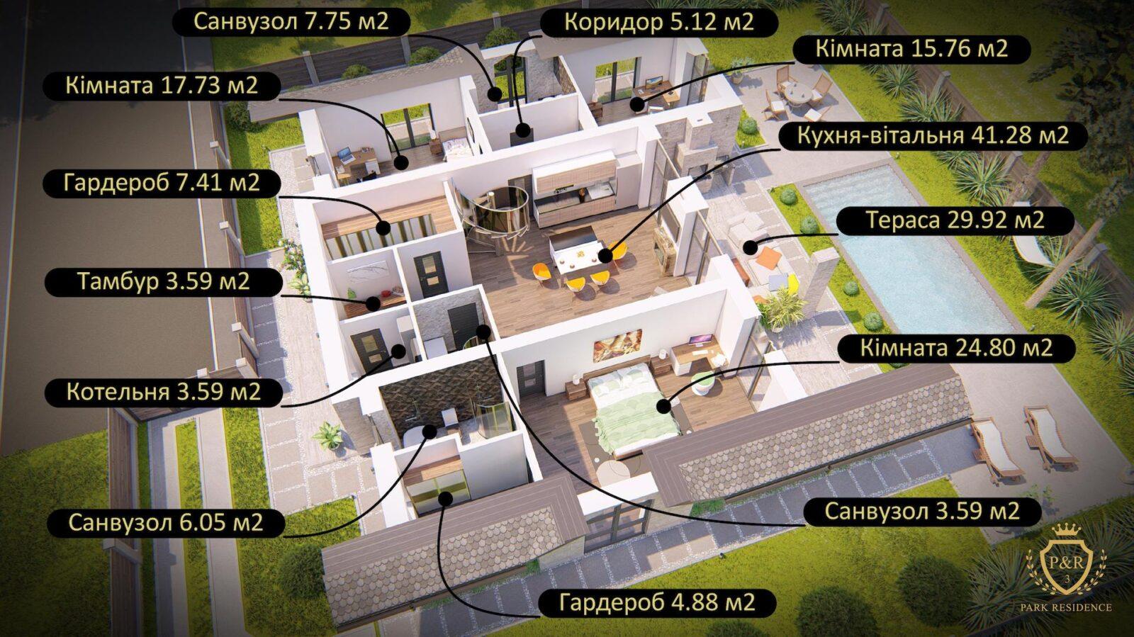 План 1 поверху, будинок 200 м кв