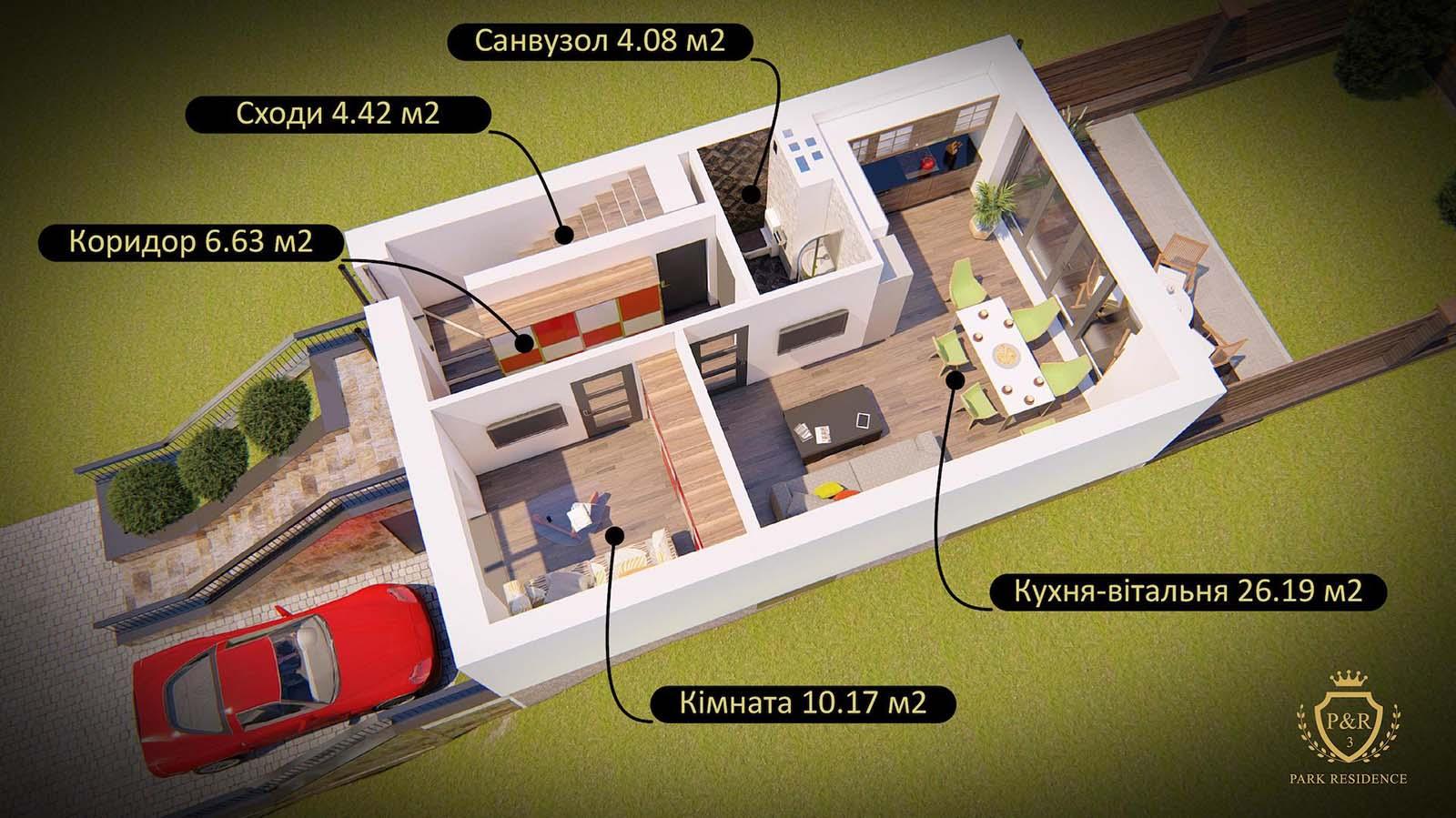 План 1 поверху, таунхаус 107 - 160 м кв