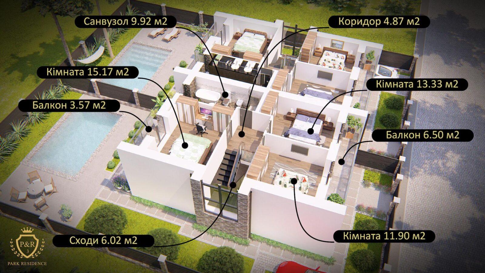 План 2-поверху дуплекса 150 м кв