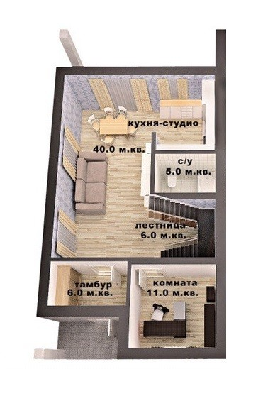 План 2 поверху, дуплекс 200 м кв