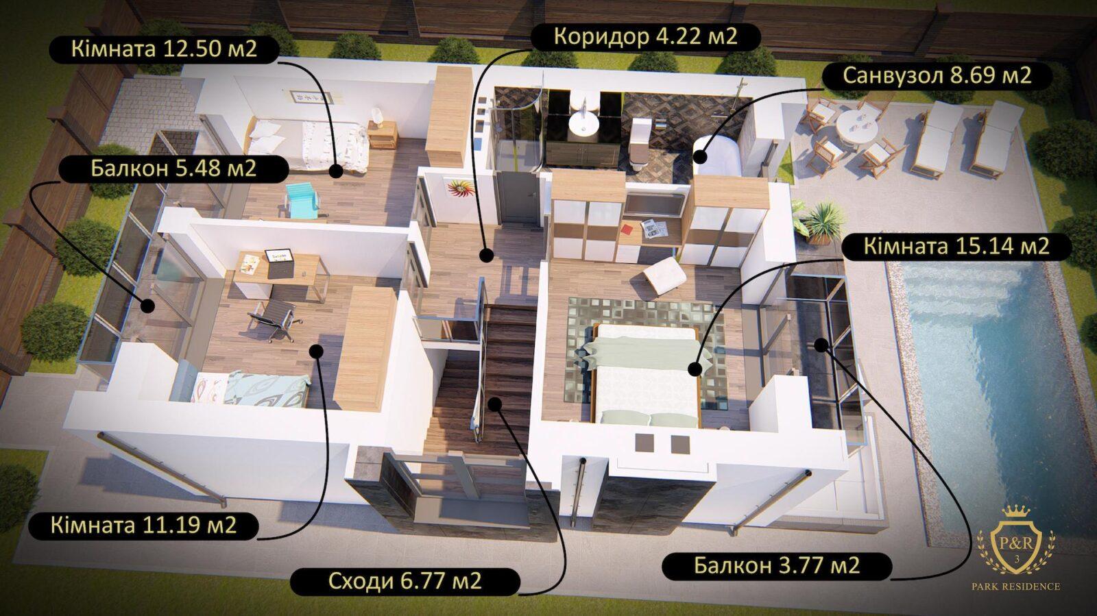 План 2 поверху P&R будинок 120 м кв