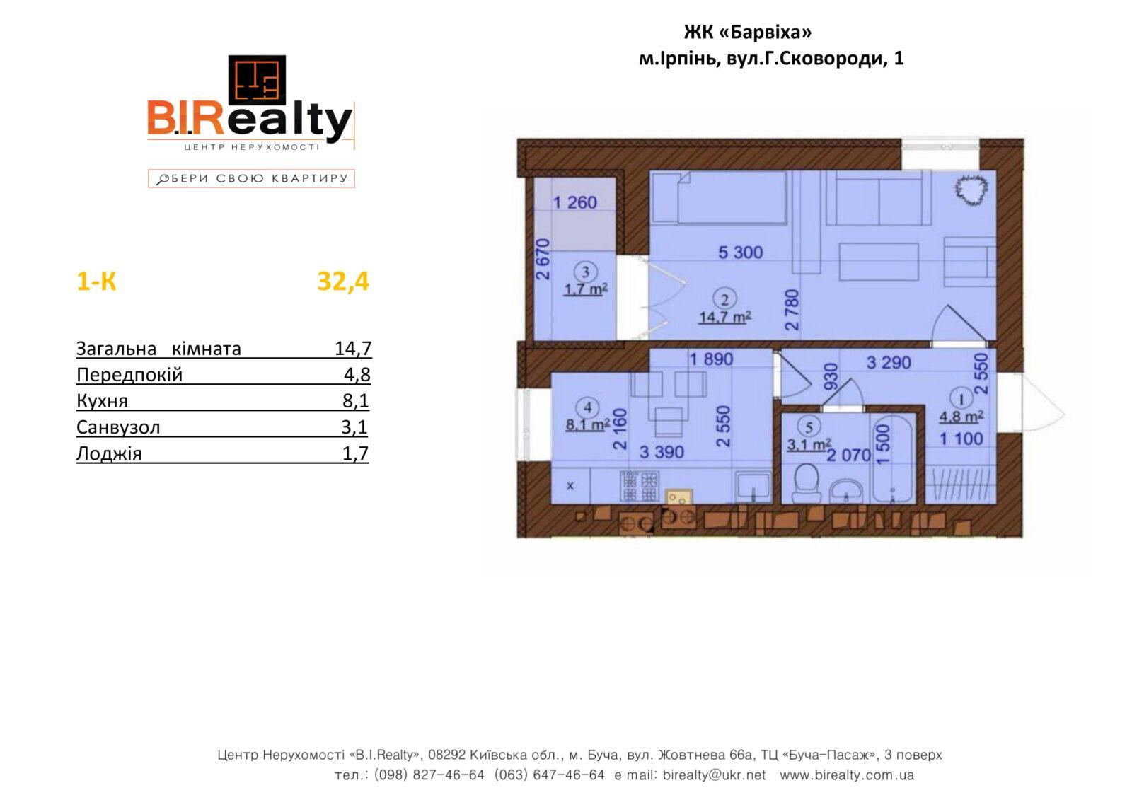1 кімнатна 32,4  м²