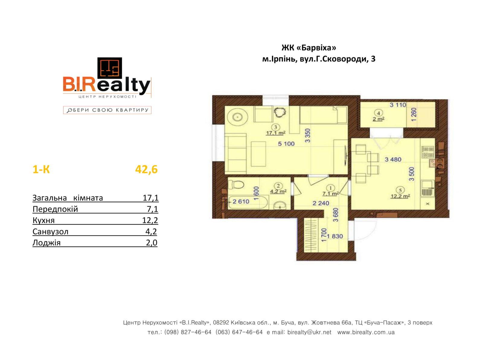 1 кімнатна 42,6 м²